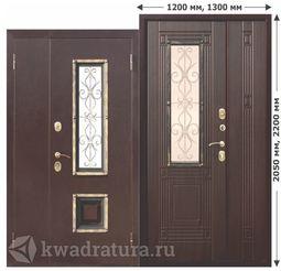 Входная металлическая дверь со стеклопакетом Венеция Венге 1200,1300