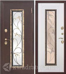 Входная металлическая дверь со стеклопакетом Плющ Белый ясень