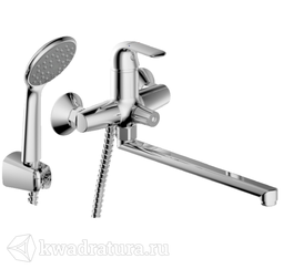 Смеситель для ванны Bravat F6135188CPLBRUS Fit с длинным изливом и душевой лейкой